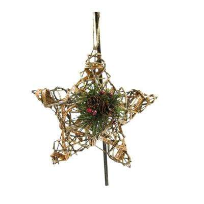 12 in. D Rattan and Berry Christmas 3D Star