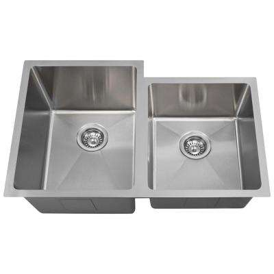Undermount Stainless Steel 31-1/4 in. Double Bowl Kitchen Sink