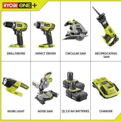 18-Volt ONE+ Lithium-Ion Cordless 6-Tool Combo Kit with (2) 2.0 Ah Batteries and (1) 18-Volt Dual Chemistry Charger
