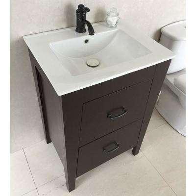 Downey 24 in. W x 18 in. D x 36 in. H Single Vanity in Espresso with Ceramic Vanity Top in White with White Basin
