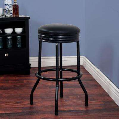 28.5 in. Black Swivel Cushioned Bar Stool
