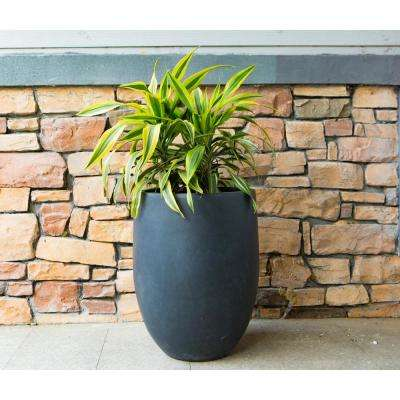 21.7 in. Tall Charcoal Lightweight Concrete Round Outdoor Planter