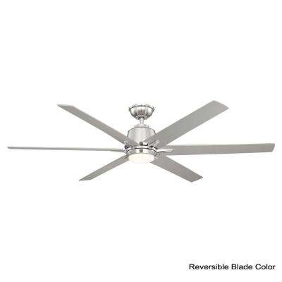Kensgrove 64 in. LED Brushed Nickel Ceiling Fan works with Google Assistant and Alexa