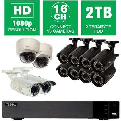 16-Channel 1080p 2TB Video Surveillance System with (8) Bullet Cameras, (2) Dome Cameras and (2) Auto-Focus Cameras
