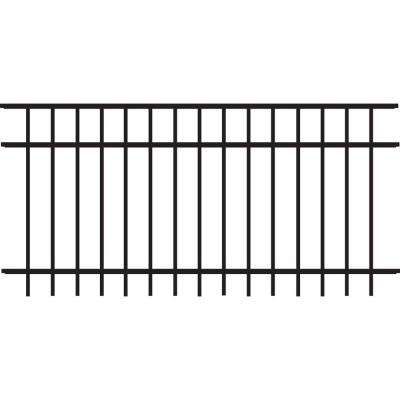 Natural Reflections Standard-Duty 3 ft. H x 6 ft. W Black Aluminum Pre-Assembled Fence Panel