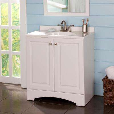 31 in. W Vanity in White with Cultured Marble Vanity Top in White