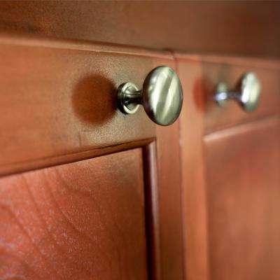 1-1/4 in. Satin Nickel Round Solid Cabinet Knob (10-Pack)