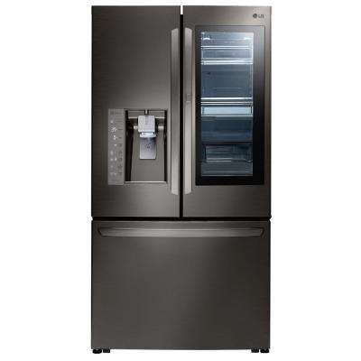24 cu. ft., 3 Door French Door Refrigerator with InstaView, Counter Depth in Black Stainless Steel