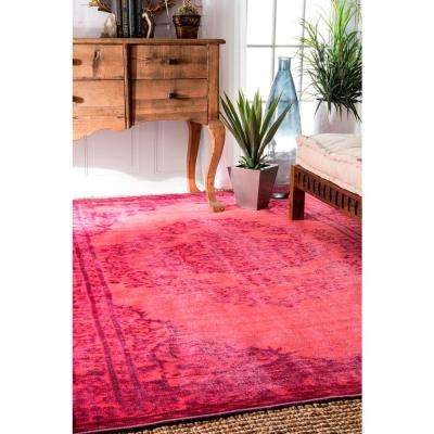 Vintage Inspired Overdyed Pink 9 ft. x 12 ft. Area Rug