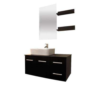 Anael 36 in. Single Vanity in White with Glass Vanity Top in Black and Mirror