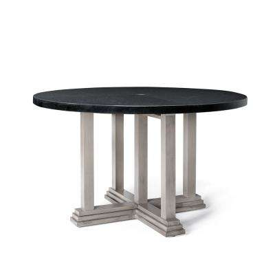 Saylor Round Aluminum Natural Stone Top Outdoor Dining Table