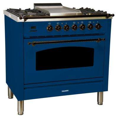36 in. 3.55 cu. ft. Single Oven Italian Gas Range with True Convection, 5 Burners, Griddle, LP Gas, Bronze Trim in Blue