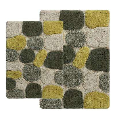 21 in. x 34 in. and 24 in. x 40 in. 2-Piece Pebbles Bath Rug Set in New Willow