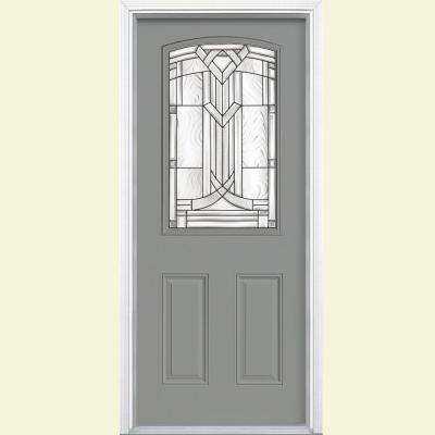 36 in. x 80 in. Chatham Camber Top Half Lite Painted Smooth Fiberglass Prehung Front Door with Brickmold