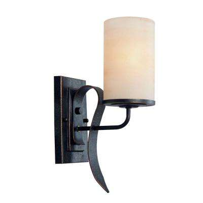 Francesco 1-Light Bordeaux Sconce with Rustic Umber Glass