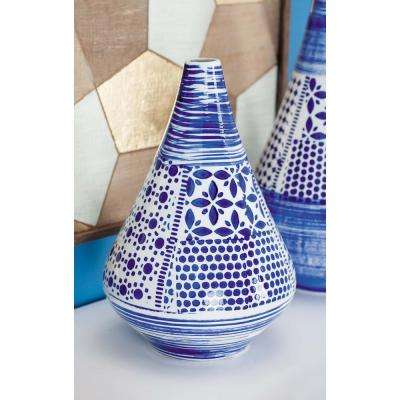 16 in. Oriental Blue and White Decorative Vase