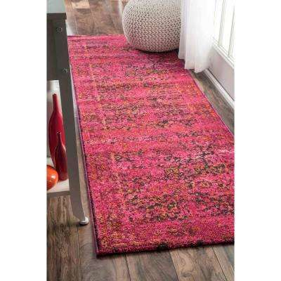Vintage Shuler Cherry Pink 2 ft. 6 in. x 8 ft. Runner Rug