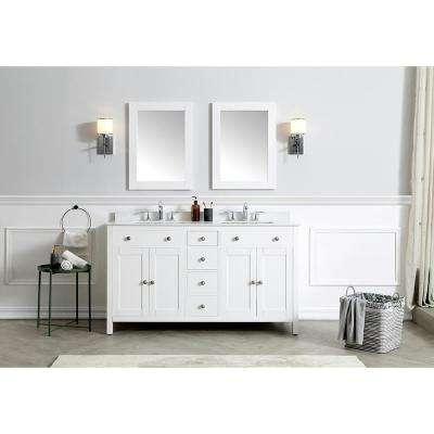 Austen 60 in. W x 22 in. D Bath Vanity in White with Cultured Marble Vanity Top in Yves White with White Sinks