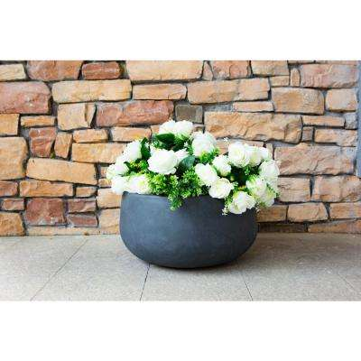 Medium 10 in. Tall Charcoal Lightweight Concrete Round Outdoor Bowl Planter