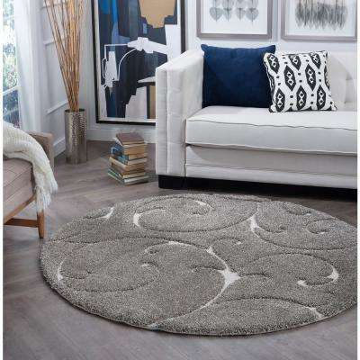 Berkshire Shag Taupe 4 ft. x 4 ft. Round Area Rug