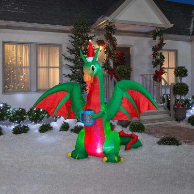 7 ft. Pre-Lit Life Size Airblown Inflatable Christmas Dragon with Multicolor Projection