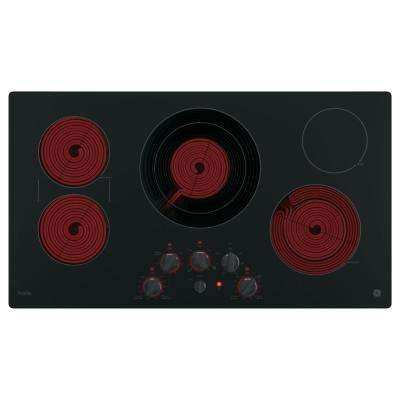 Profile 36 in. Radiant Electric Cooktop in Black with 5 Elements with Rapid Boil