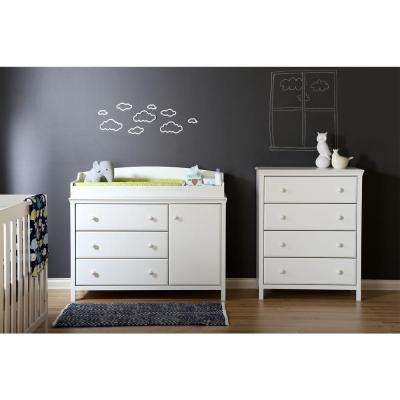 Cotton Candy 39-3/4 in. x 31-1/2 in. 4-Drawer Chest in Pure White