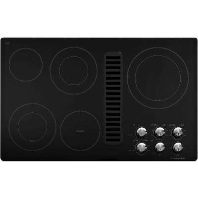 36 in. Downdraft Vent Ceramic Glass Electric Cooktop in Black with 5 Elements including Double-Ring Elements
