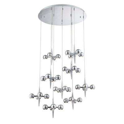 Pearla Collection 36-Light Chrome LED Chandelier