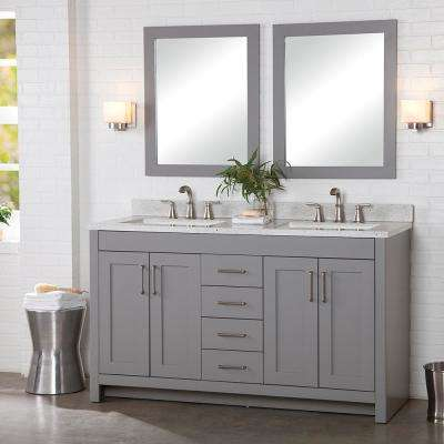 Westcourt 61 in. W x 22 in. D Bath Vanity in Sterling Gray with Solid Surface Vanity Top in Silver Ash with White Sink