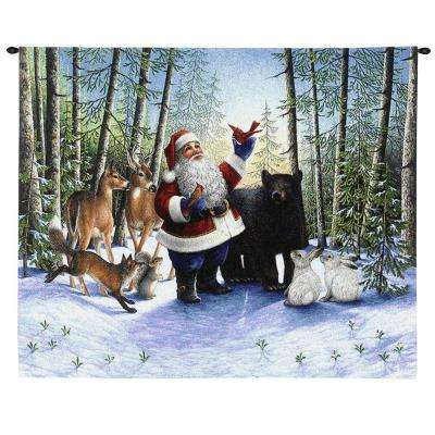 25.5 in. x 31 in. Santa in the Forest Jacquard Woven Wall Hanging