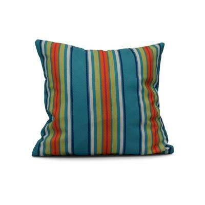 16 in. Multi-Stripe Print Pillow in Turquoise