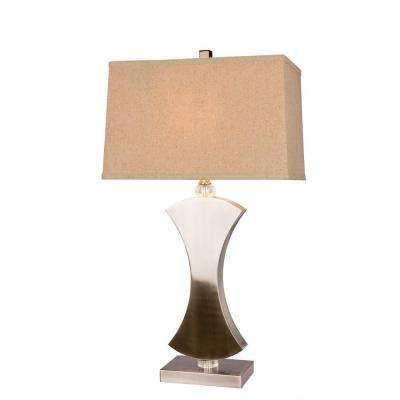 31 in. Brushed Steel Metal and Crystal Table Lamp