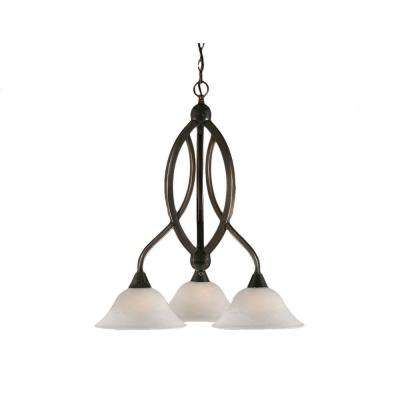 Concord 3-Light Black Copper Chandelier with White Alabaster Glass