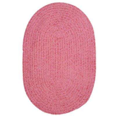 Dover Chenille Pink 3 ft. 6 in. x 5 ft. 6 in. Oval Braided Area Rug