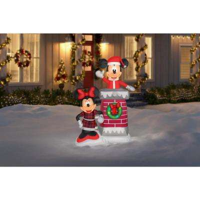 6 ft. Pre-lit Inflatable Airblown Chimney Top Mickey and Minnie Scene