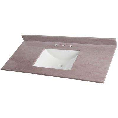 49 in. W Stone Effects Vanity Top in Kaiser Grey with White Basin