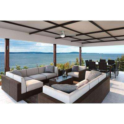 Verse 44 in. LED Indoor/Outdoor Satin Nickel Ceiling Fan with Light Kit and Universal Remote