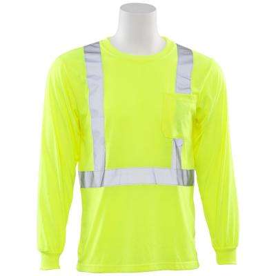 9602S Class 2 Long Sleeve Hi Viz Lime Unisexx Poly Jersey T-Shirt