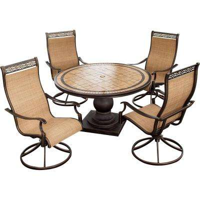 Monaco 5-Piece Aluminum Round Outdoor Dining Set with Tile-Top Table and Contoured Swivel Chairs