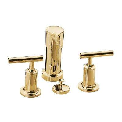 Purist 2-Handle Bidet Faucet in Vibrant Moderne Polished Gold with Vertical Spray with Lever Handles