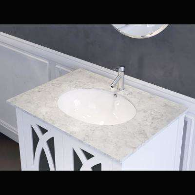 Brea 30 in. W x 22 in. D x 36 in. H Single Vanity in White with Carrara Marble Vanity Top in White with White Basin