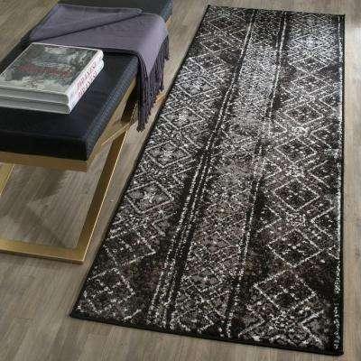 Adirondack Black/Silver 3 ft. x 10 ft. Runner Rug