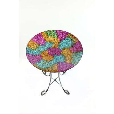 16 in. Mosaic Multi Colored Birdbath with Metal Stand