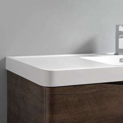 Tuscany 32 in. Modern Wall Hung Bath Vanity in Rosewood with Vanity Top in White with White Basin and Medicine Cabinet