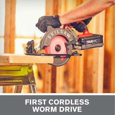 TRUEHVL 48-Volt Cordless 7-1/4 in. Worm Drive Saw Kit with 2 TRUEHVL Batteries and Diablo Blade