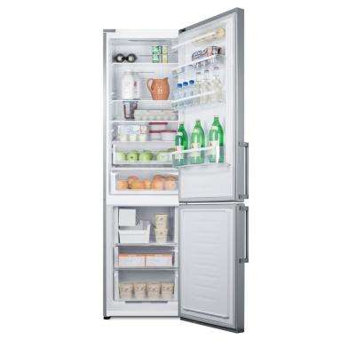 24 in. W 13.3 cu. ft. Bottom Freezer Refrigerator in Stainless Steel, Counter Depth