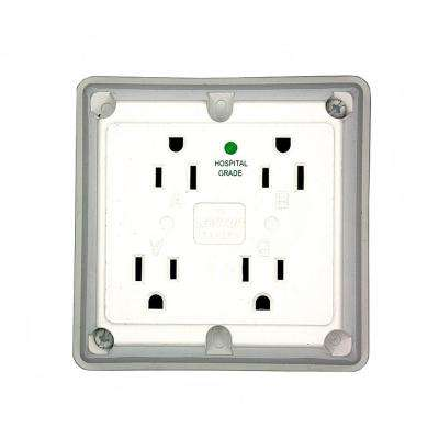 15 Amp Hospital Grade Extra Heavy Duty 4-in-1 Grounding Outlet, White