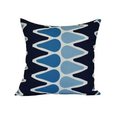 16 in. Multi-Colored Picks Geometric Print Pillow in Navy Blue