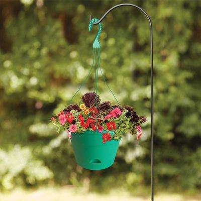 Newbury 13 in. Round Cadmium Green Resin Self-Watering Hanging Basket